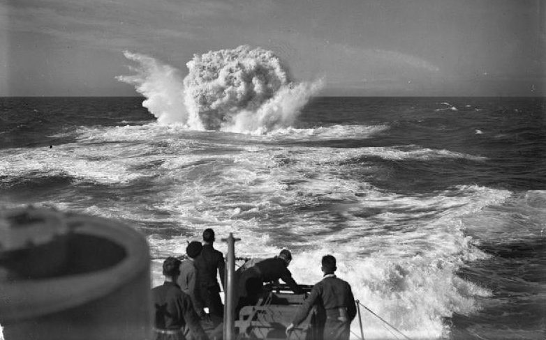Depth Charge explodes during the Battle of the Atlantic